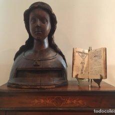 Antigüedades: TALLA RELICARIO DE MADERA, TAMAÑO NATURAL, BUSTO DE SANTA. S.XVI-XVII. Lote 161406960