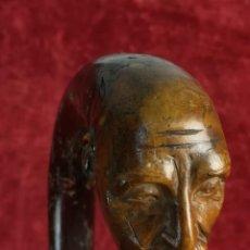 Antigüedades: BASTÓN PORRA CURVO CON CABEZA DE ANCIANO BARBADO. (PRINCIPIOS DEL SIGLO XX) ESPAÑA. Lote 169308648