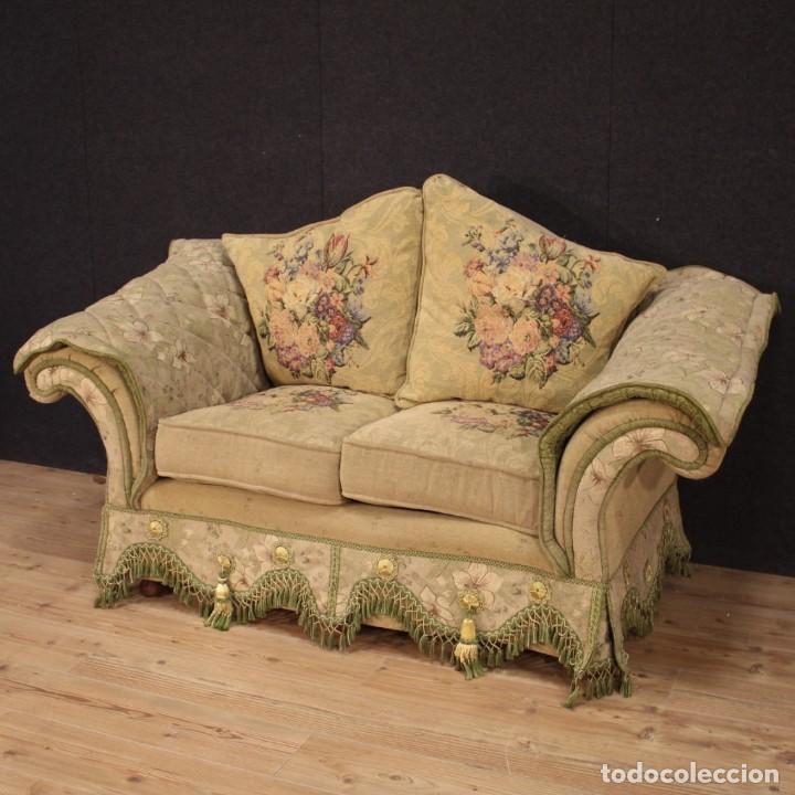Antigüedades: Sofá francés de tela con decoraciones florales - Foto 2 - 169315608
