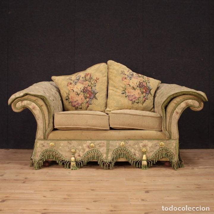 Antigüedades: Sofá francés de tela con decoraciones florales - Foto 10 - 169315608