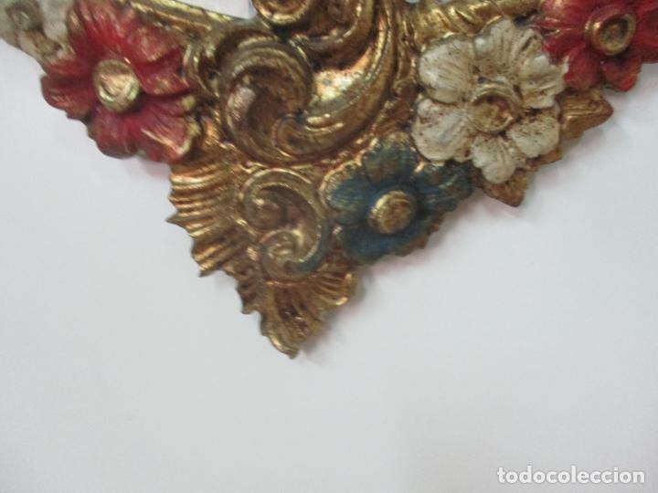 Antigüedades: Bonito Espejo Ovalado - Madera y Estuco Dorado y Pintado - Años 50 - Foto 3 - 169322308