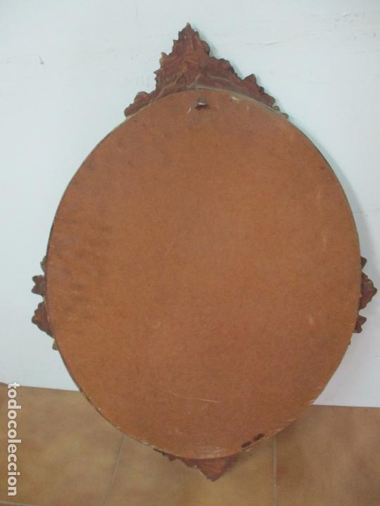Antigüedades: Bonito Espejo Ovalado - Madera y Estuco Dorado y Pintado - Años 50 - Foto 8 - 169322308