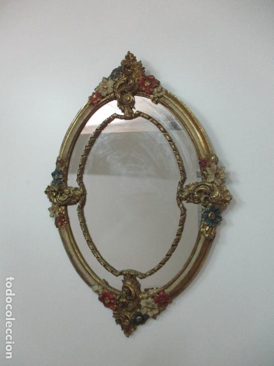 Antigüedades: Bonito Espejo Ovalado - Madera y Estuco Dorado y Pintado - Años 50 - Foto 9 - 169322308
