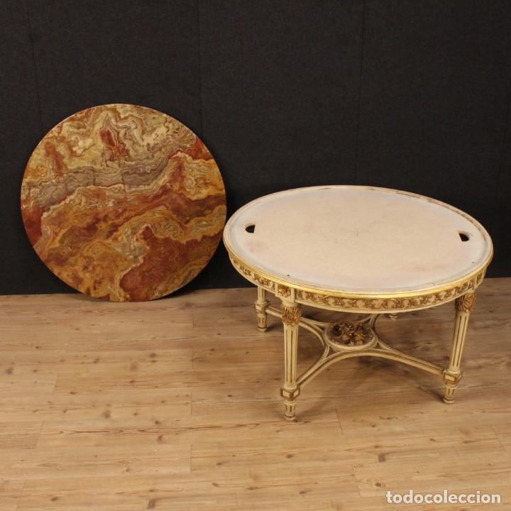Antigüedades: Mesa redonda italiana lacada y dorada en estilo Luis XVI. - Foto 2 - 169385672