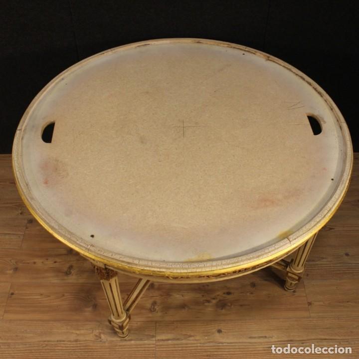 Antigüedades: Mesa redonda italiana lacada y dorada en estilo Luis XVI. - Foto 3 - 169385672