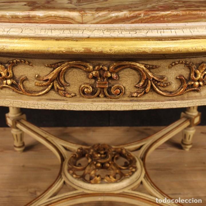 Antigüedades: Mesa redonda italiana lacada y dorada en estilo Luis XVI. - Foto 9 - 169385672