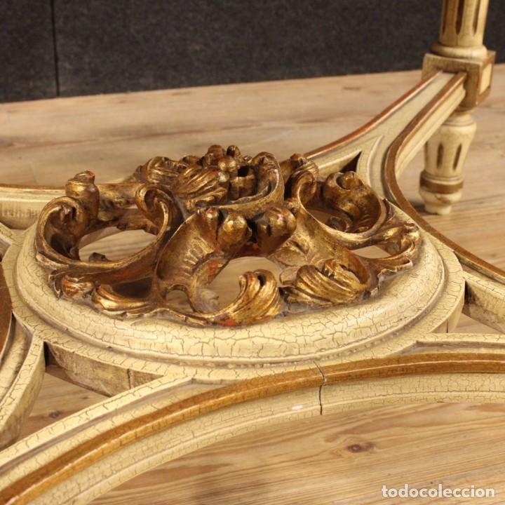 Antigüedades: Mesa redonda italiana lacada y dorada en estilo Luis XVI. - Foto 10 - 169385672