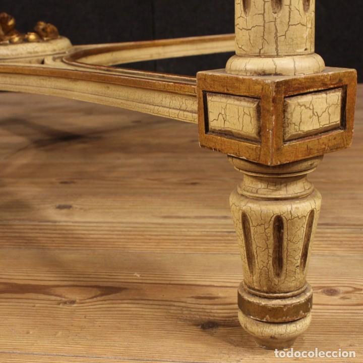 Antigüedades: Mesa redonda italiana lacada y dorada en estilo Luis XVI. - Foto 11 - 169385672
