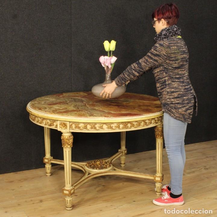Antigüedades: Mesa redonda italiana lacada y dorada en estilo Luis XVI. - Foto 12 - 169385672