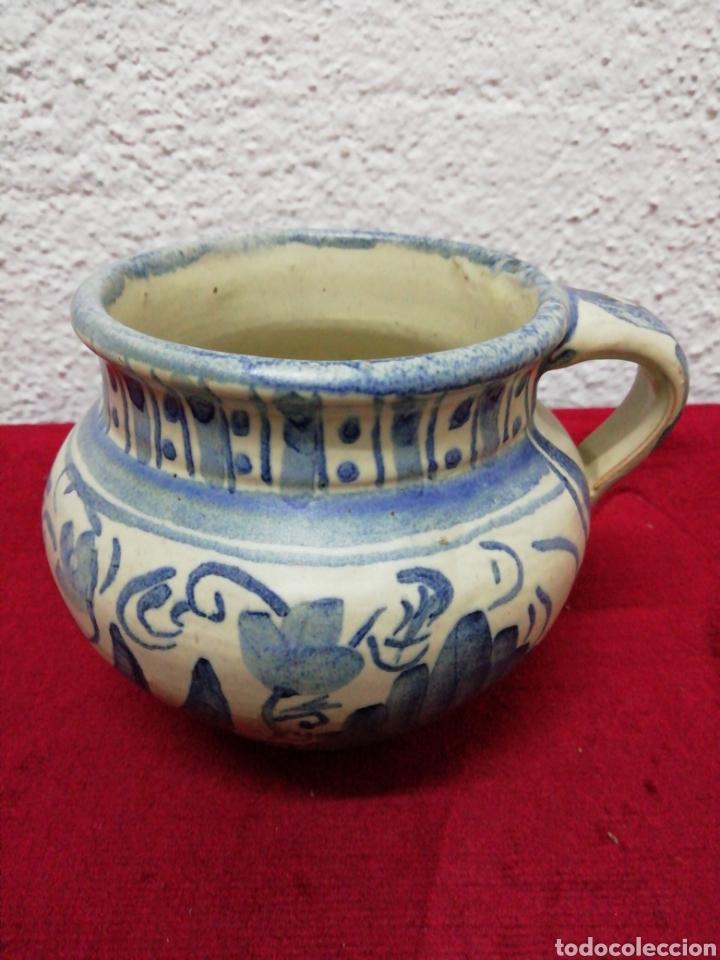 JARRÓN DE UNA ASA. CERÁMICA DE TERUEL. PUNTER. ALTURA 10CM. (Antigüedades - Porcelanas y Cerámicas - Teruel)