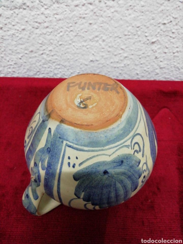 Antigüedades: Jarrón de una asa. Cerámica de Teruel. Punter. Altura 10cm. - Foto 3 - 169429250