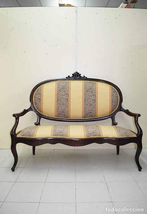 SOFÁ ANTIGUO ISABELINO EN MADERA DE CAOBA (Antigüedades - Muebles Antiguos - Sofás Antiguos)