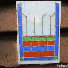 Antigüedades: ANTIGUO RETAL VITRAL VIDRIERA EMPLOMADA, DE LOS 40/50'S. LIMPIA, VER FOTOS 55X38CM MAXIMO + INFO 1S. Lote 169470232