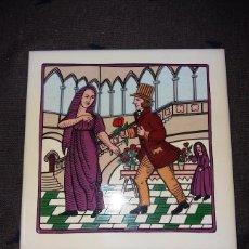 Antigüedades: BALDOSA O RAXOLA, DIBUJO GALANTE. 15 X 15 CM.. Lote 169504256