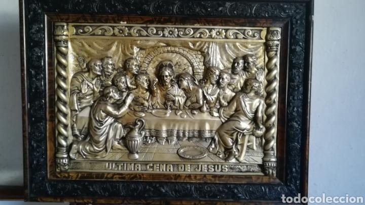 ANTIGUO CUADRO DE METAL PLATEADO, ÚLTIMA CENA (Antigüedades - Religiosas - Varios)