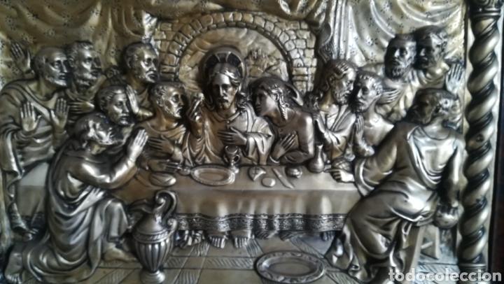 Antigüedades: Antiguo cuadro de metal plateado, Última cena - Foto 2 - 169553270