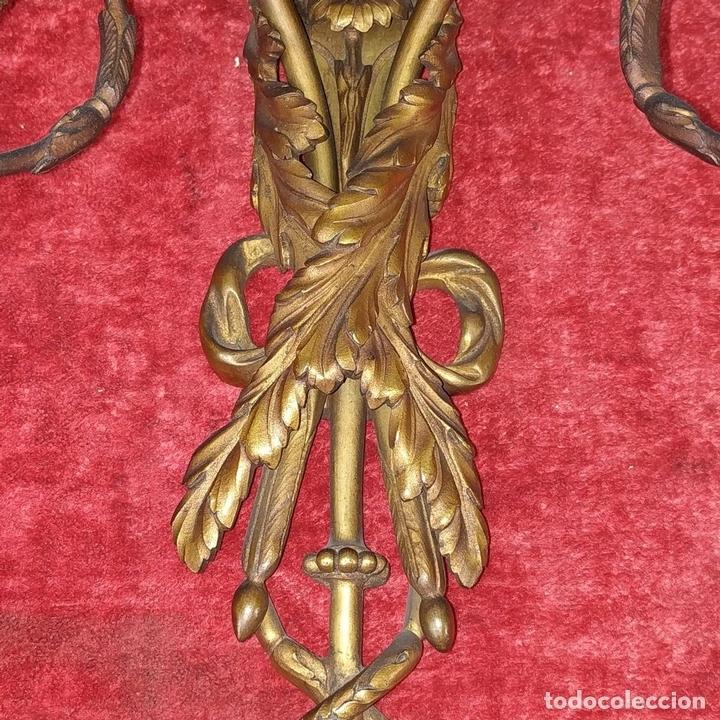 Antigüedades: PAREJA DE APLIQUES EN BRONCE DORADO. ESTILO LUIS XVI. FRANCIA. PRIMERA MITAD SIGLO XIX - Foto 9 - 169553408