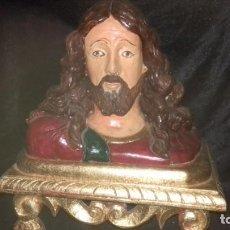 Antigüedades: BUSTO DE CRISTO TALLADO EN MADERA. Lote 169560376