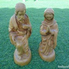 Antigüedades: VIRGEN MARIA Y SAN JOSE TALLADOS EN MADERA. Lote 169573536