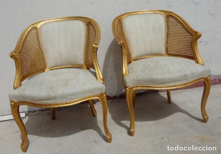 Antigüedades: Pareja de sillones o butacas tapizada y rejilla, acabadas en pan de oro - Foto 2 - 169588264