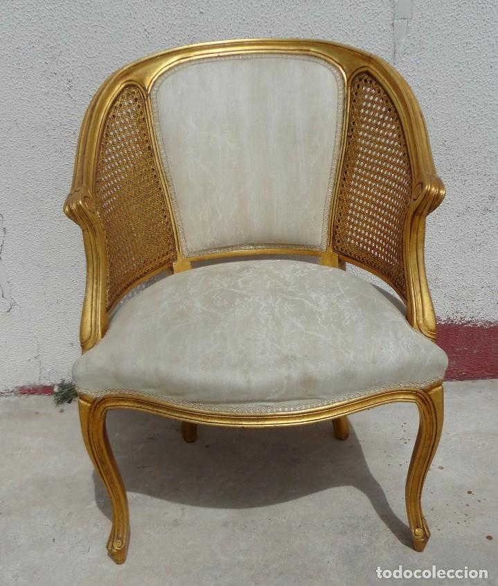 Antigüedades: Pareja de sillones o butacas tapizada y rejilla, acabadas en pan de oro - Foto 3 - 169588264