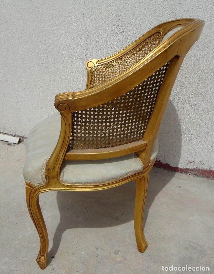 Antigüedades: Pareja de sillones o butacas tapizada y rejilla, acabadas en pan de oro - Foto 4 - 169588264