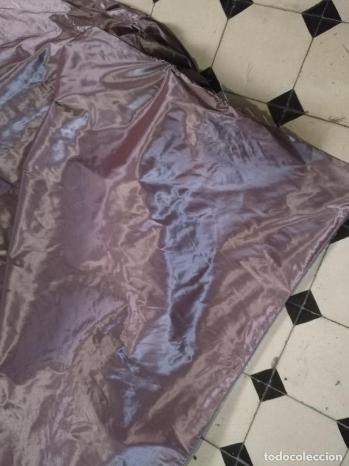 Antigüedades: 6 metros x 3 metros tela malva tornasol tipo tafetan , ideal manto virgen tunica cristo semana santa - Foto 12 - 245110770