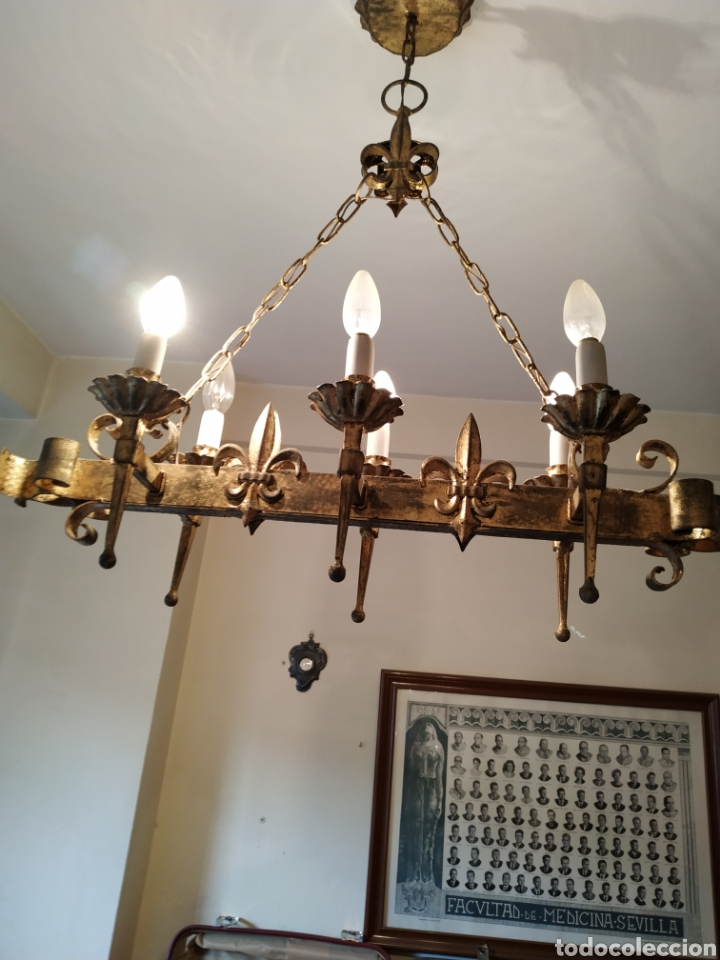 LAMPARA DE FORJA .AÑOS 70. (Antigüedades - Iluminación - Lámparas Antiguas)