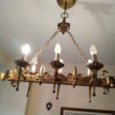 Antigüedades: LAMPARA DE FORJA .AÑOS 70.. Lote 169608437