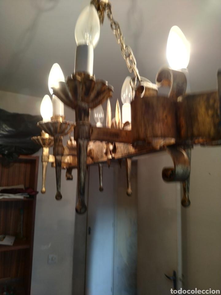 Antigüedades: Lampara de forja .Años 70. - Foto 6 - 169608437