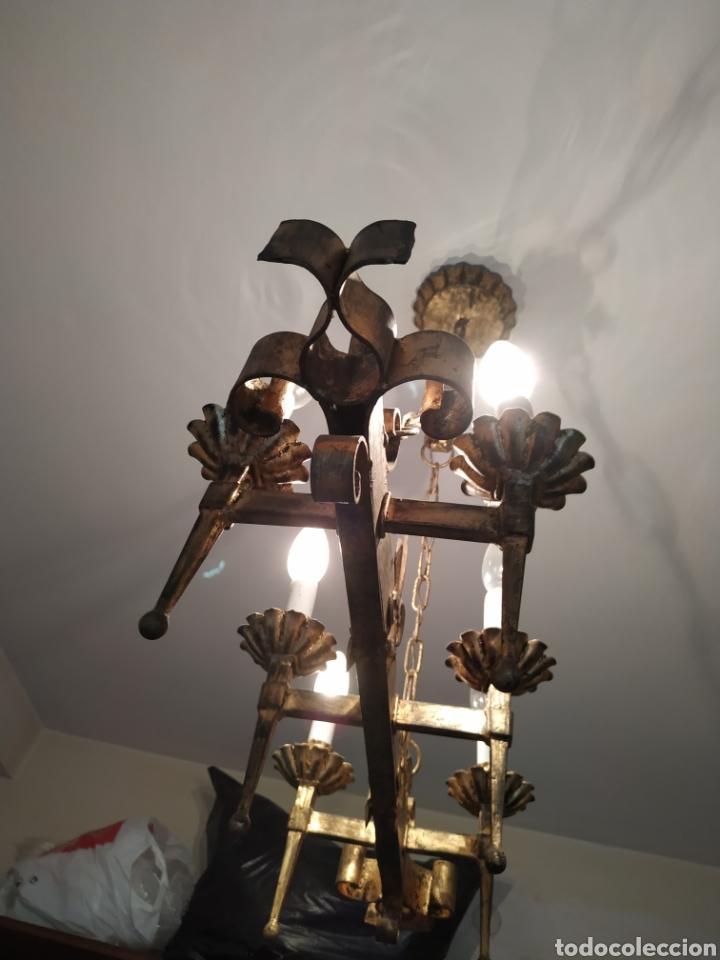 Antigüedades: Lampara de forja .Años 70. - Foto 7 - 169608437