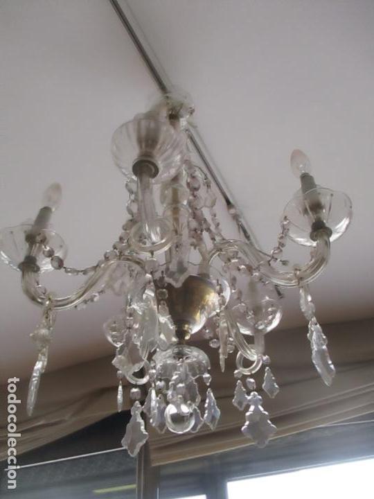 Antigüedades: Antigua Lámpara de Techo - Araña - 5 Luces - Lagrimas de Cristal - Ideal Comedor, Salón - Foto 2 - 169619853