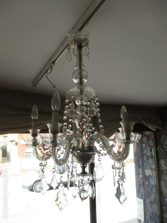 Antigüedades: Antigua Lámpara de Techo - Araña - 5 Luces - Lagrimas de Cristal - Ideal Comedor, Salón - Foto 3 - 169619853