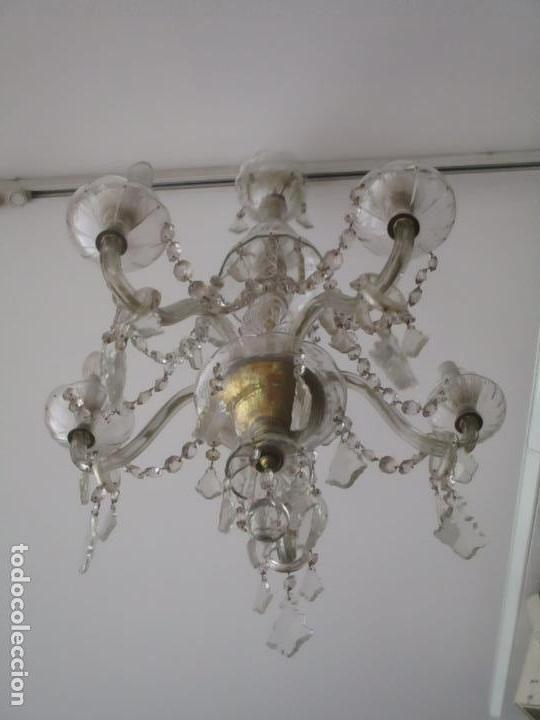 Antigüedades: Antigua Lámpara de Techo - Araña - 5 Luces - Lagrimas de Cristal - Ideal Comedor, Salón - Foto 4 - 169619853