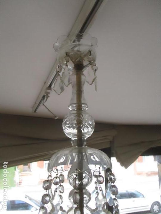 Antigüedades: Antigua Lámpara de Techo - Araña - 5 Luces - Lagrimas de Cristal - Ideal Comedor, Salón - Foto 5 - 169619853