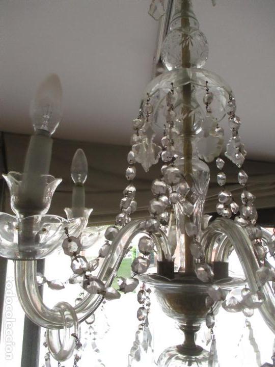 Antigüedades: Antigua Lámpara de Techo - Araña - 5 Luces - Lagrimas de Cristal - Ideal Comedor, Salón - Foto 6 - 169619853