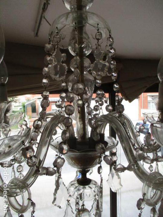 Antigüedades: Antigua Lámpara de Techo - Araña - 5 Luces - Lagrimas de Cristal - Ideal Comedor, Salón - Foto 7 - 169619853