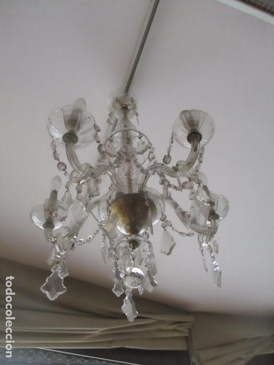 Antigüedades: Antigua Lámpara de Techo - Araña - 5 Luces - Lagrimas de Cristal - Ideal Comedor, Salón - Foto 8 - 169619853