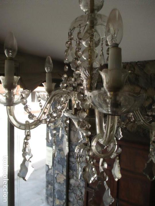 Antigüedades: Antigua Lámpara de Techo - Araña - 5 Luces - Lagrimas de Cristal - Ideal Comedor, Salón - Foto 9 - 169619853