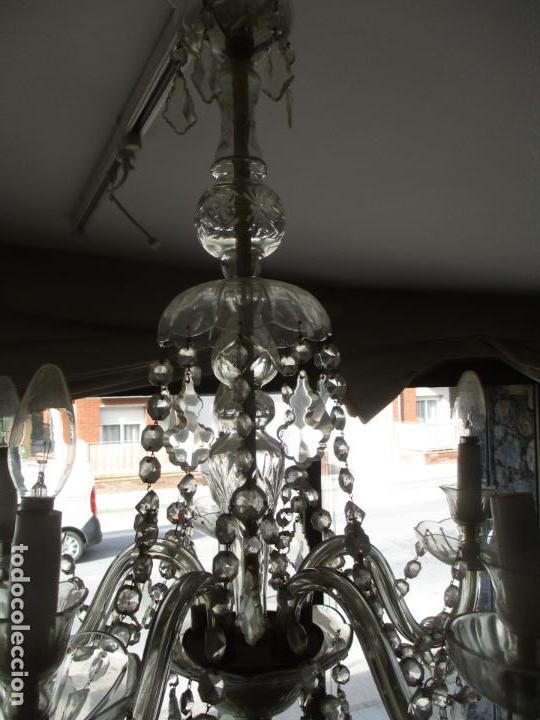 Antigüedades: Antigua Lámpara de Techo - Araña - 5 Luces - Lagrimas de Cristal - Ideal Comedor, Salón - Foto 10 - 169619853