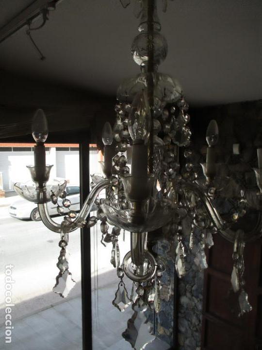 Antigüedades: Antigua Lámpara de Techo - Araña - 5 Luces - Lagrimas de Cristal - Ideal Comedor, Salón - Foto 12 - 169619853