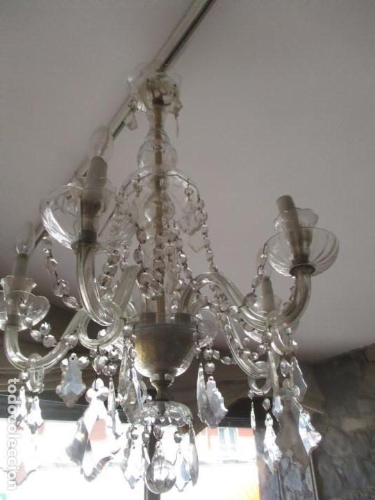 ANTIGUA LÁMPARA DE TECHO - ARAÑA - 5 LUCES - LAGRIMAS DE CRISTAL - IDEAL COMEDOR, SALÓN (Antigüedades - Iluminación - Lámparas Antiguas)
