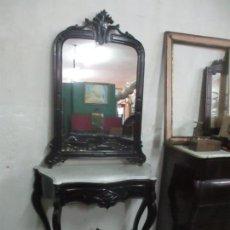 Antigüedades: CONSOLA ISABELINA (DITADA) - MADERA DE CAOBA, LACA NEGRA - 114 CM ANCHO, 219 CM ALTURA - S.XIX. Lote 169620096