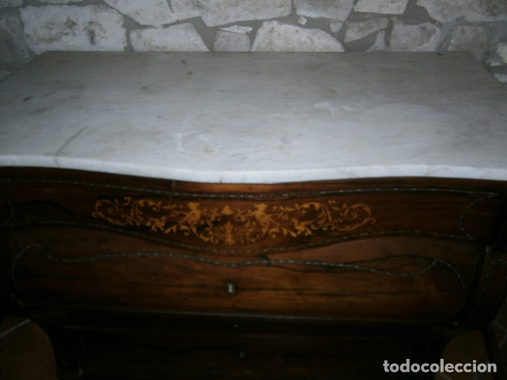 Antigüedades: ANTIGUA CÓMODA ISABELINA BOMBEADA CON MARQUETERIA DE BOJ Y ZINC. S. XIX - Foto 10 - 169640124