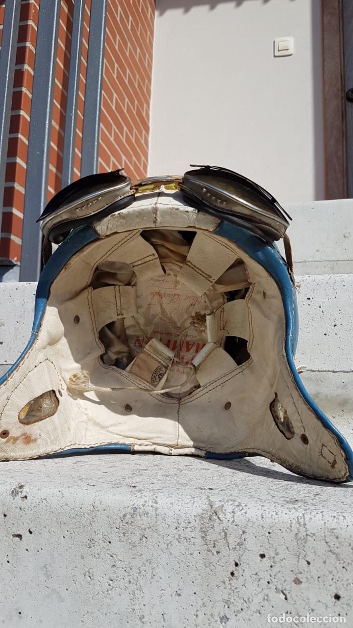 Antigüedades: CASCO ANTIGUO DE MOTO CON GAFAS AZUL Y BLANCO EXPECTACULARES,AÑOS 40-50 APROX - Foto 14 - 169657584