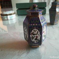 Antigüedades: PRECIOSO ESPIECERO O TIBOR MINIATURA CHINA EN CLOISONE MEDIDA ALTO 8,5CM APROX MIREN FOTOS . Lote 169663992