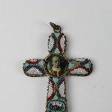 Antigüedades: JOY-1019. CRUZ EN MICROMOSAICO, ROMA. CON IMAGEN PAPA PIO XII. MEDIADOS S.XX.. Lote 169665860