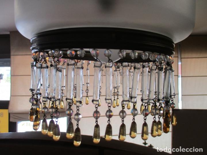 Antigüedades: Lampara de Techo - Farol - Tulipa de Cristal - Decoración con Lagrimas de Cristales - Años 30-40 - Foto 3 - 169674148