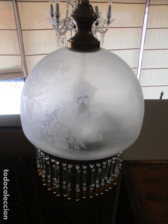 Antigüedades: Lampara de Techo - Farol - Tulipa de Cristal - Decoración con Lagrimas de Cristales - Años 30-40 - Foto 4 - 169674148
