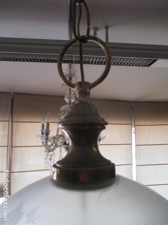 Antigüedades: Lampara de Techo - Farol - Tulipa de Cristal - Decoración con Lagrimas de Cristales - Años 30-40 - Foto 6 - 169674148